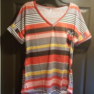 Tops - Brand new vneck striped tee. Size XL